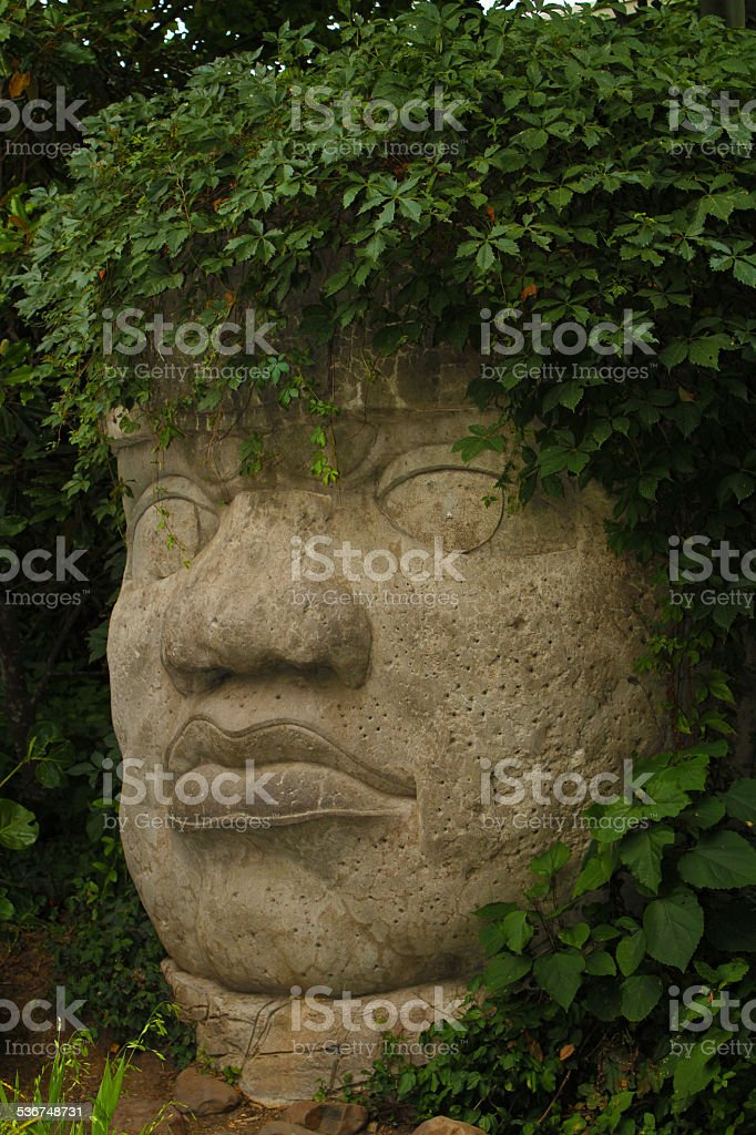 Gigantic Mesoamerican Stone Head Sculpture With Green Plant Hair stock photo