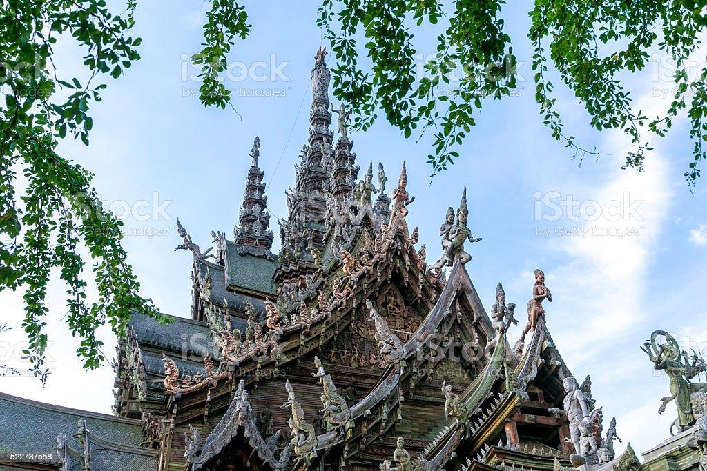gigantic wooden construction, thailand. stock photo