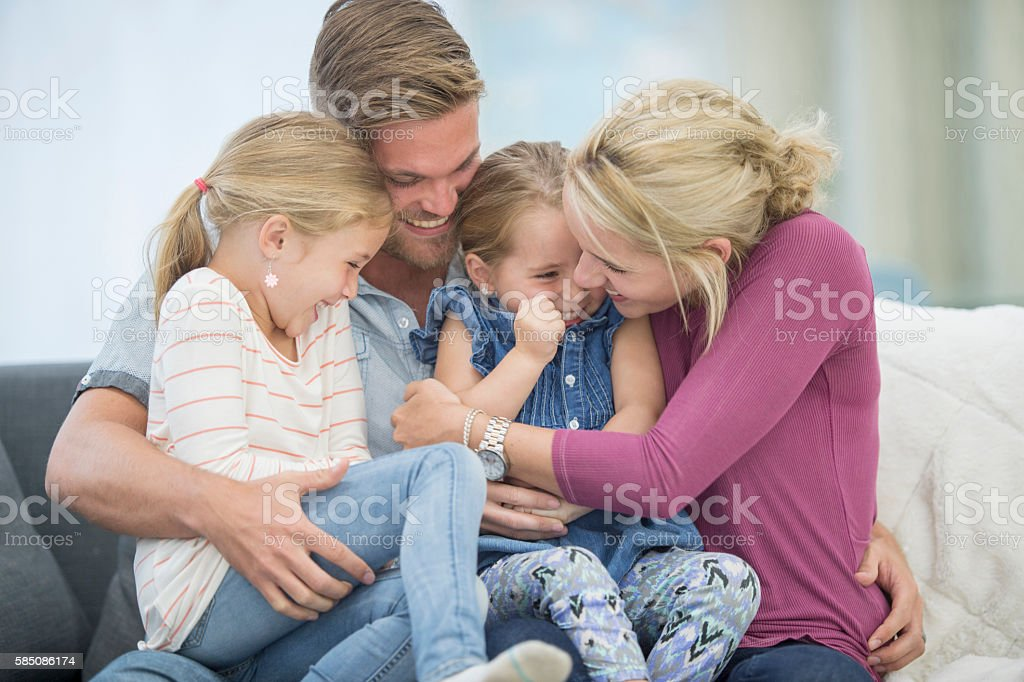 Giggling and Laughing Together stock photo