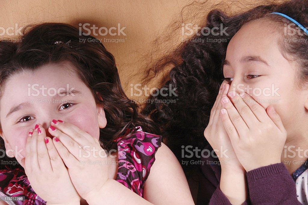 Giggling girls stock photo