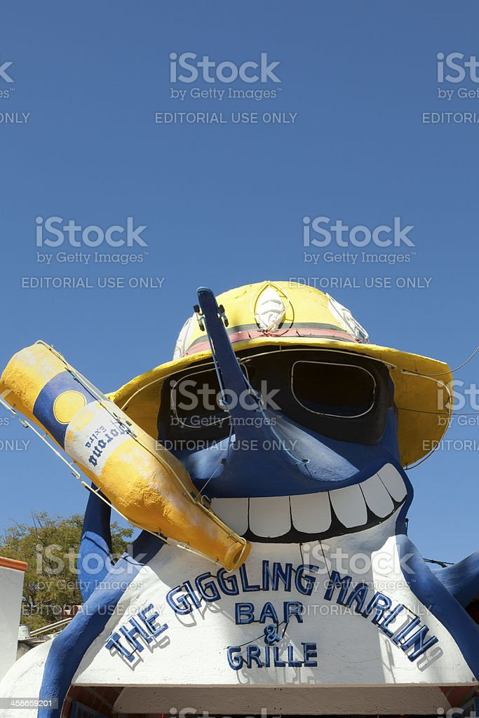 Giggling Marlin sign in Cabo San Lucas, Mexico royalty-free stock photo