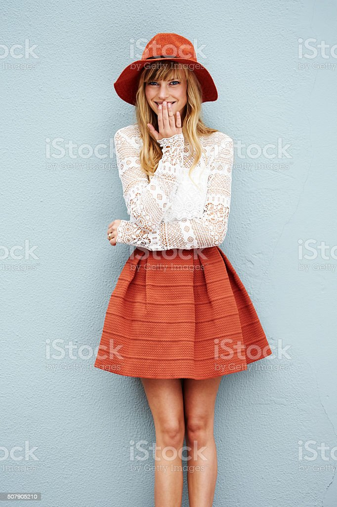 Giggling woman in fashion stock photo