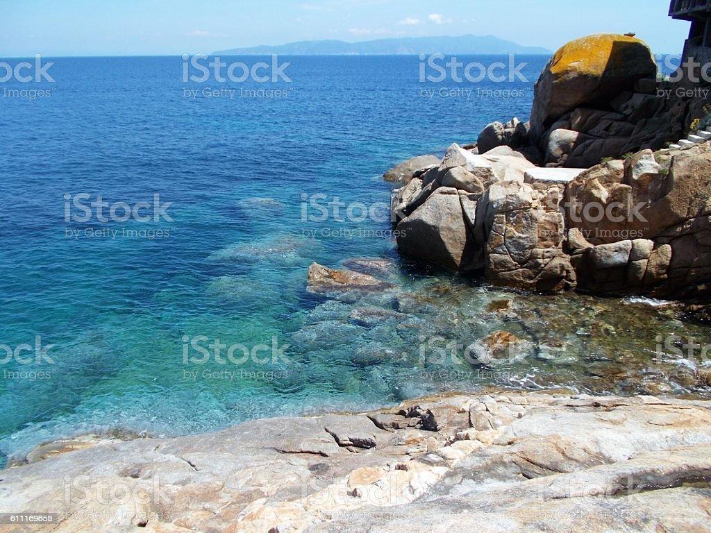giglio island - sea and rock stock photo