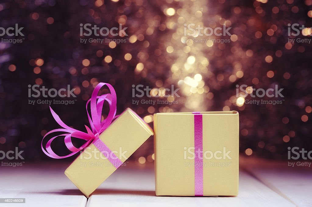 Gigt box on holiday background stock photo