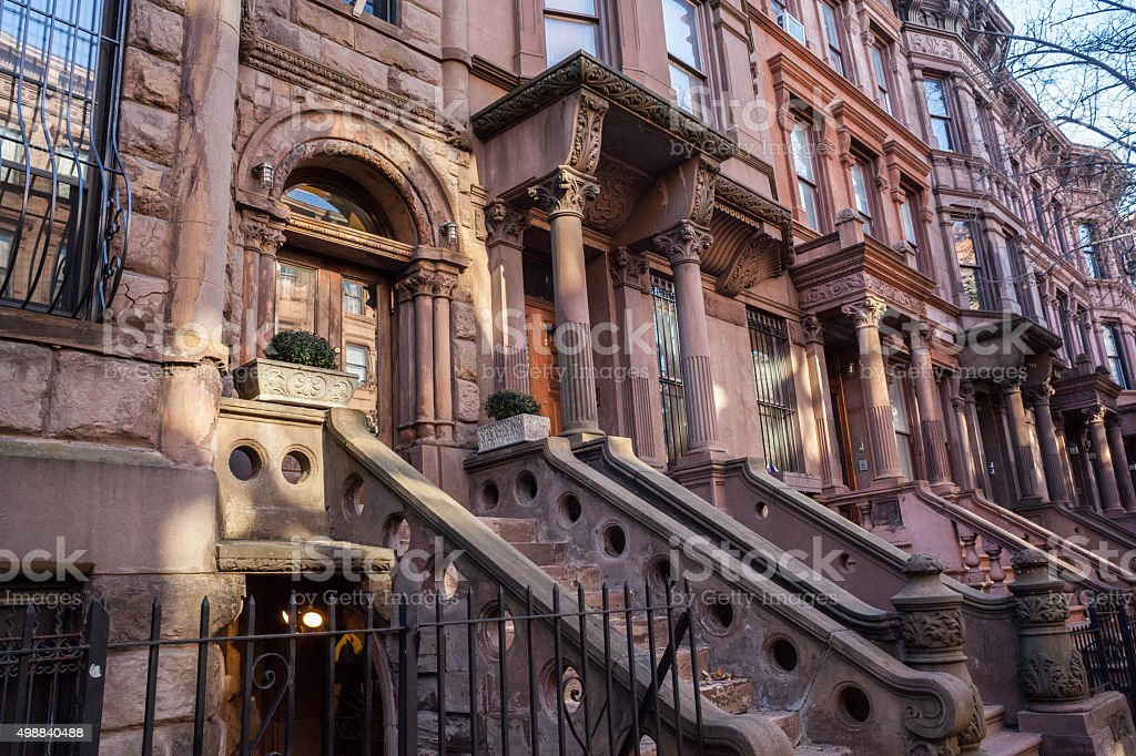 Gilded age brownstones in Manhattan. Real Estate. NYC. stock photo
