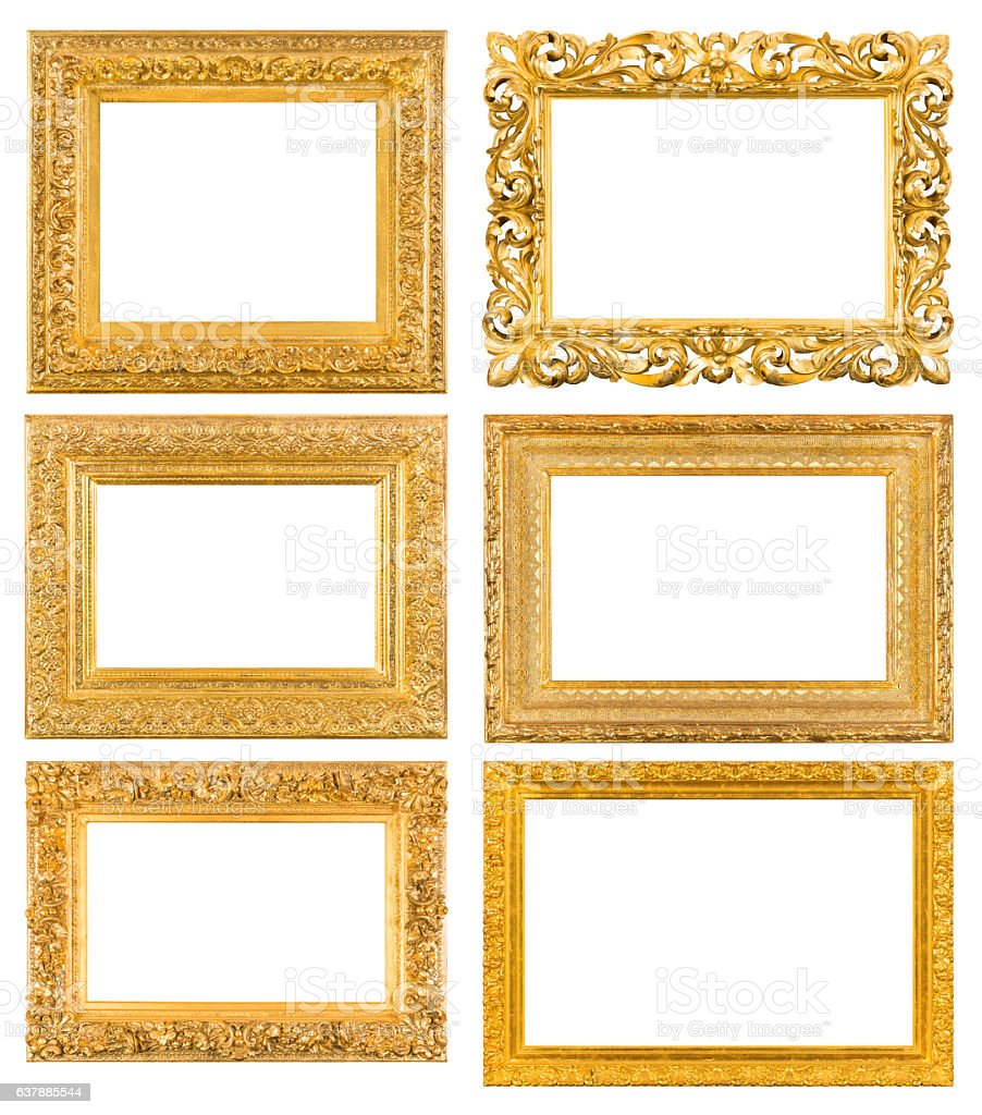 Gilded blank frames collection stock photo