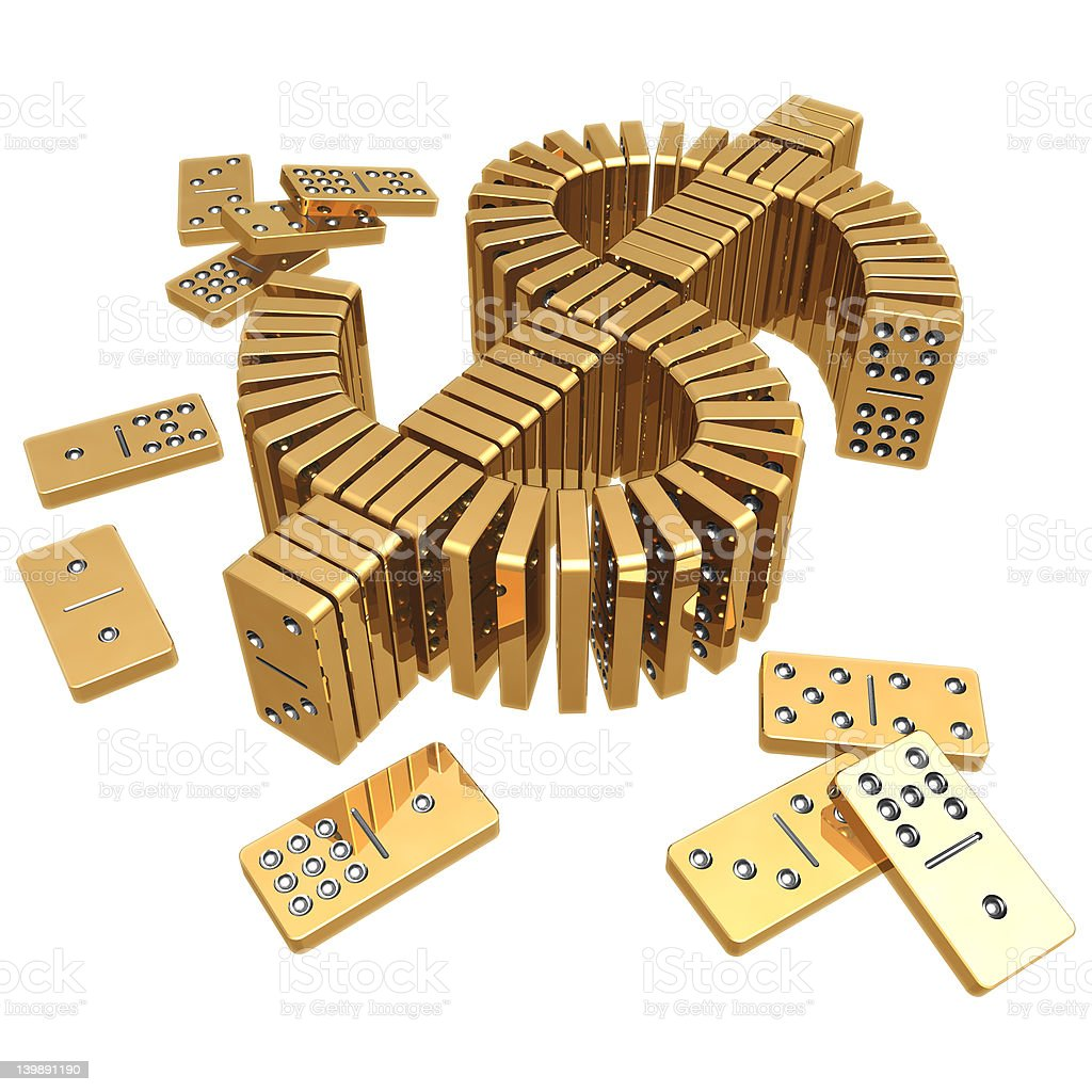 3D Gilded Dollar Domino's royalty-free stock photo