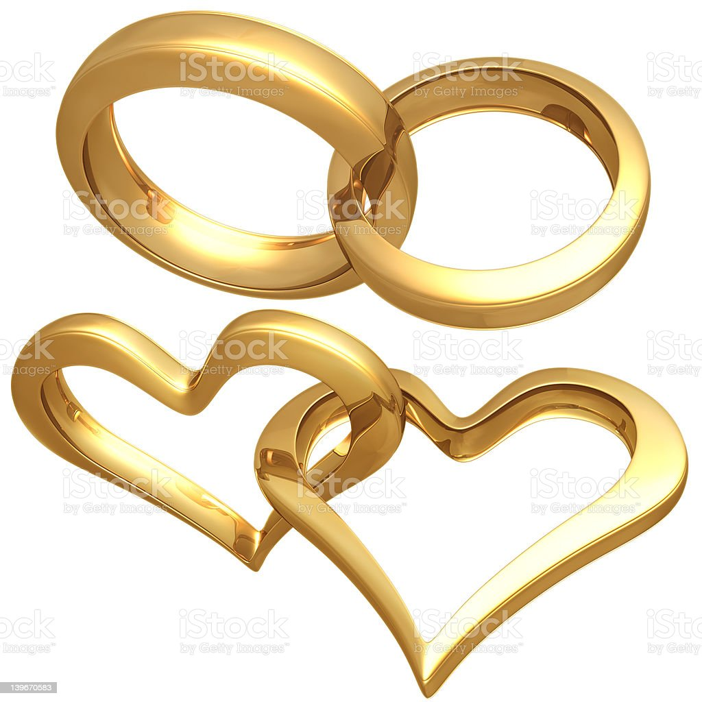 Gilded Heart Rings royalty-free stock photo