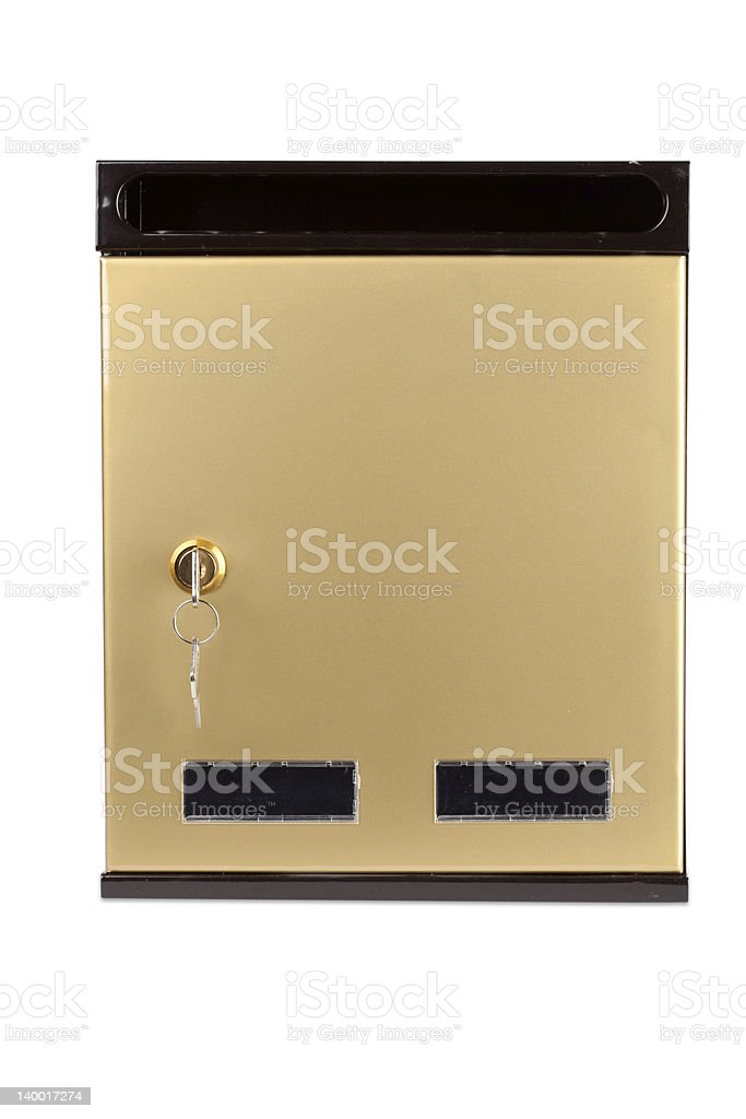 gilded mailbox(clipping path included) stock photo