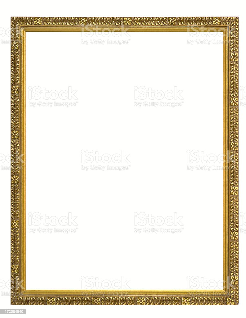 Gilded Rectangular Picture Frame.  Isolated on White with Clipping Path royalty-free stock photo