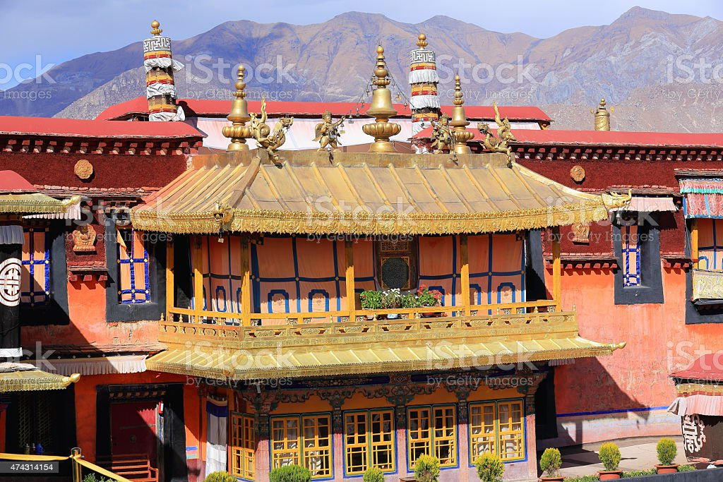 Gilded roofs. Balcony in Jokhang temple-Lhasa-Tibet. 1428 stock photo