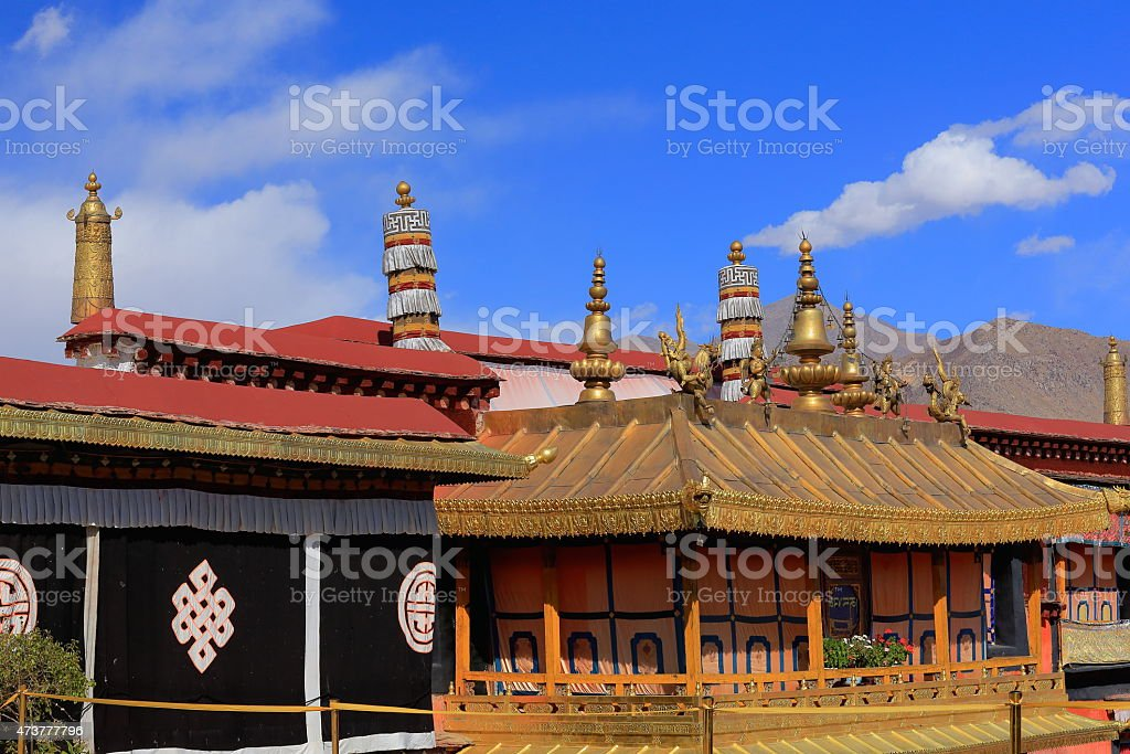 Gilded roofs. Jokhang temple-Lhasa-Tibet. 1425 stock photo