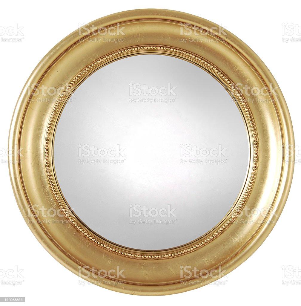 gilded round mirror frame stock photo