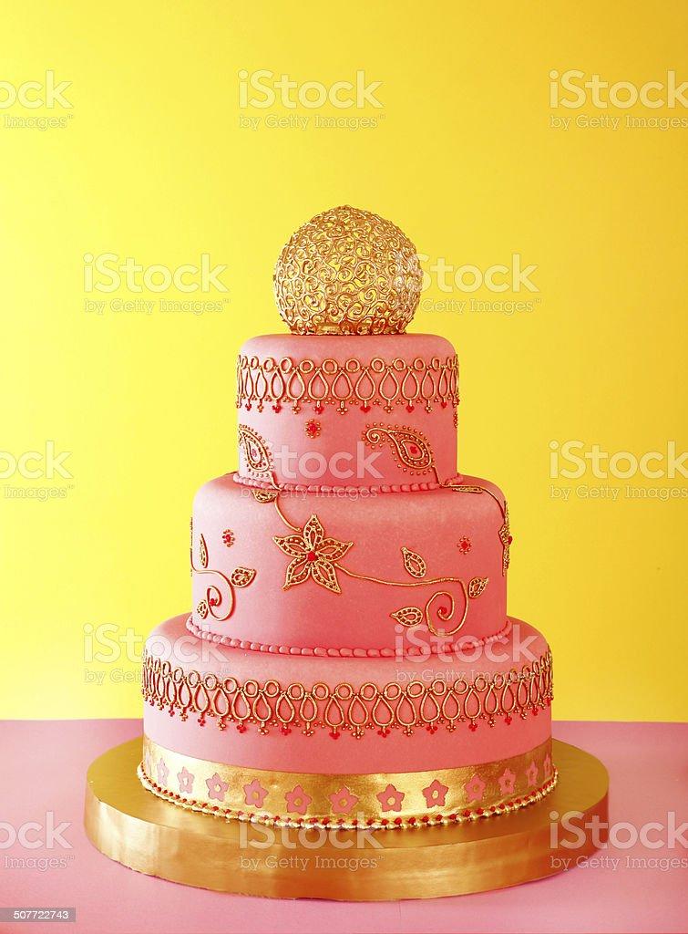 gilded wedding cake stock photo