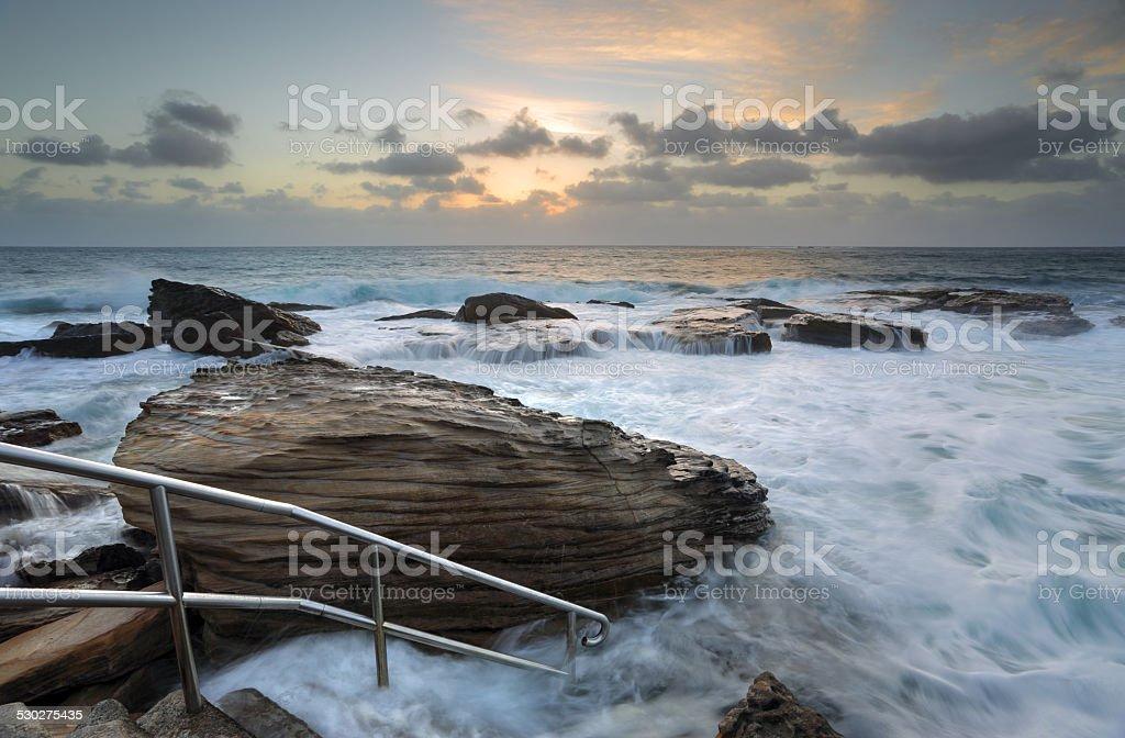 Giles Baths Coogee Rock Pool Sunrise Seascape stock photo