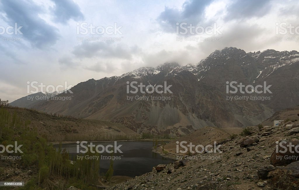 Gilgit River and lake, Pakistan stock photo