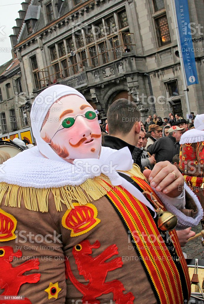 'Gille' in front of Town Hall, Binche Carnival, Belgium. stock photo