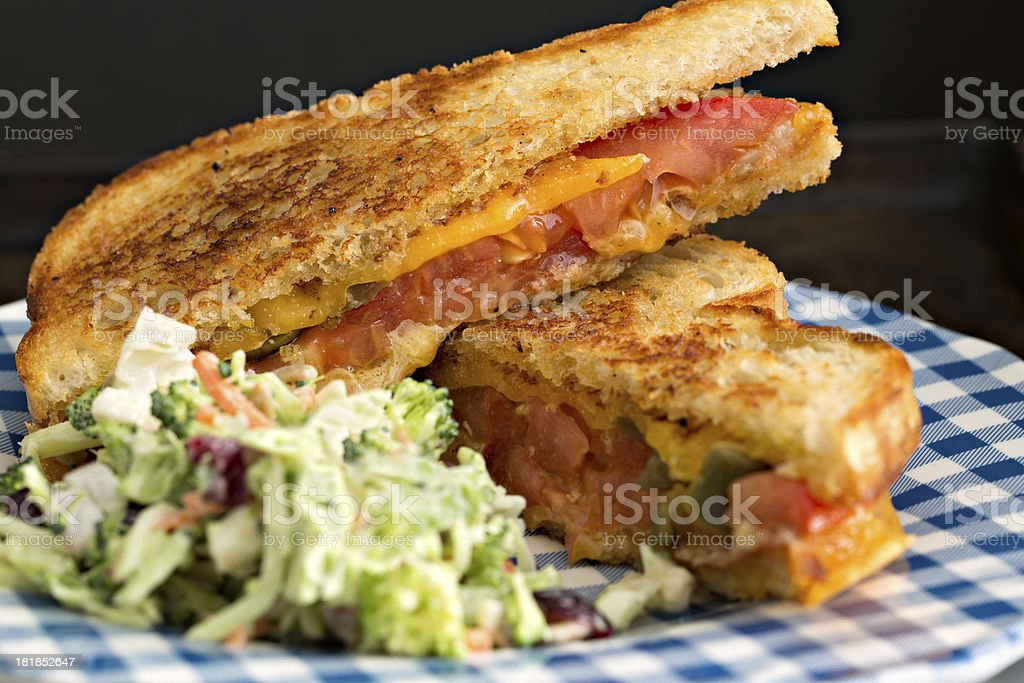 Gilled Cheese Sandwich And Broccoli Salat royalty-free stock photo