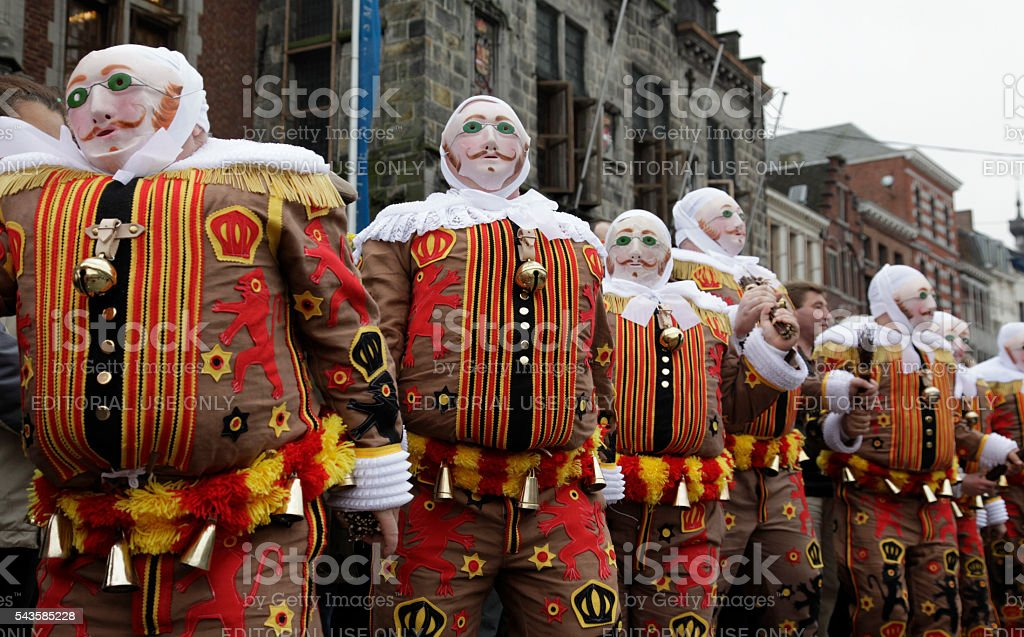 Gilles dancing, Grand'Place in front of Town Hall, Binche Carnival stock photo