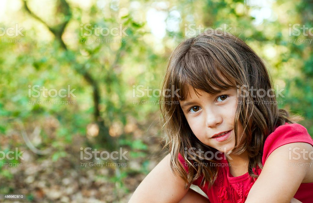 Gilr in nature stock photo
