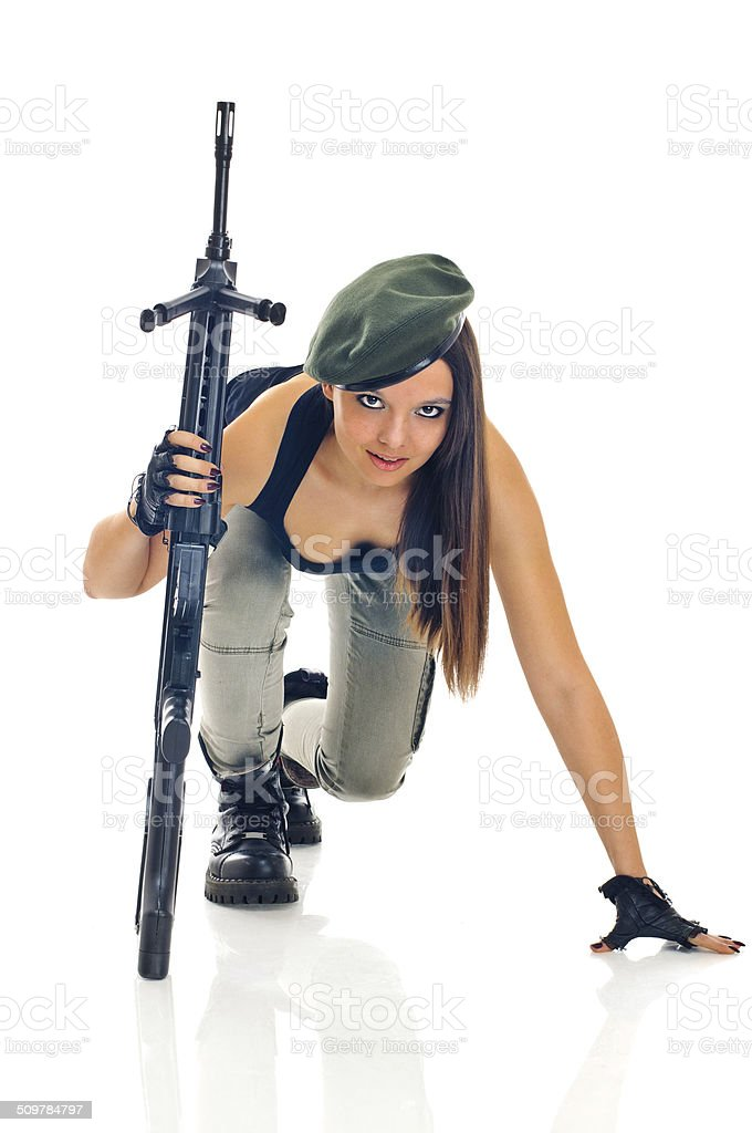 gilrl soldier stock photo