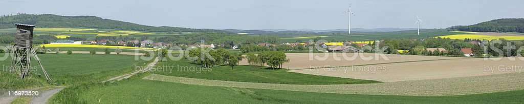 Gilserberger Hochland in spring (panoramic) stock photo