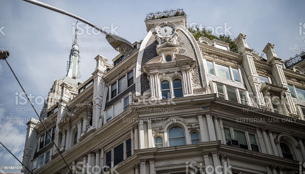 Gilsey House below Empire State Building, New York City, USA stock photo