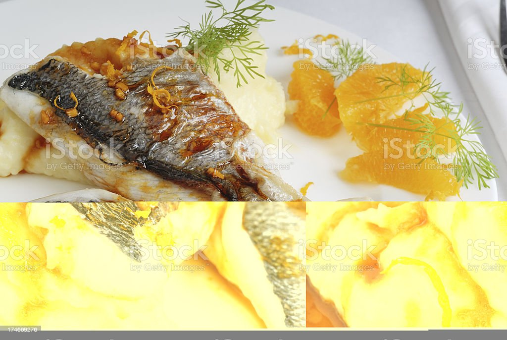 gilthead with orange sauce stock photo