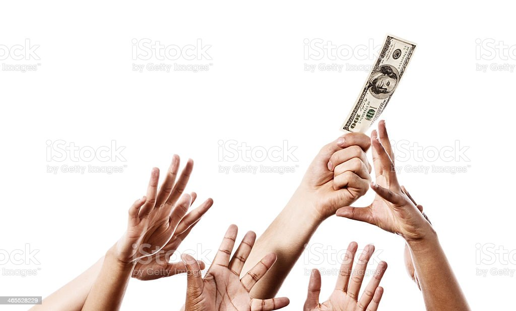 Gimme! Many hands competing for banknote one hand holds aloft stock photo