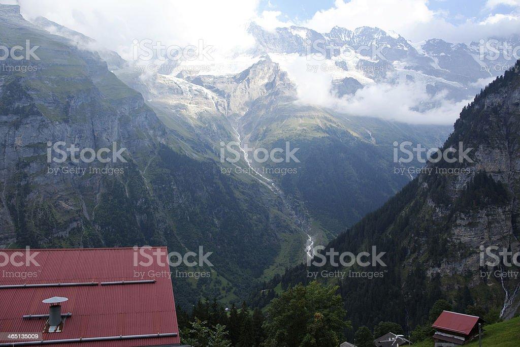 Gimmelwald, Switzerland Overlooking the Swiss Alps stock photo