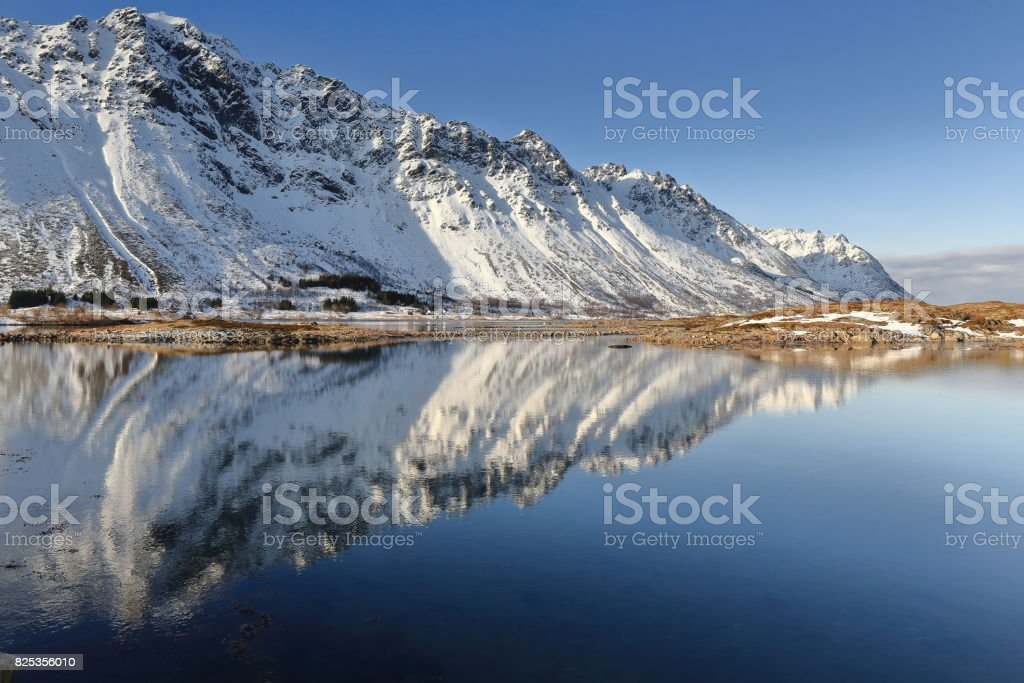 Gimsoystraumen strait separing Austvagoya and Grimsoya islands. Vagan kommune-Nordland-Norway. 0184 stock photo