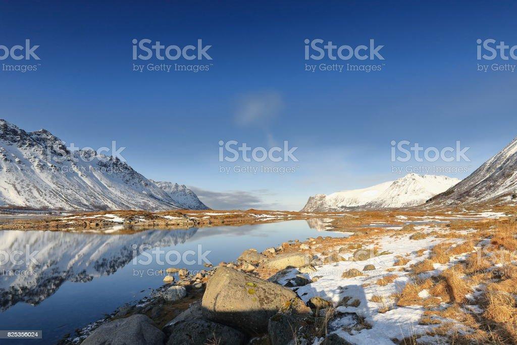 Gimsoystraumen strait separing Austvagoya and Grimsoya islands. Vagan kommune-Nordland-Norway. 0187 stock photo