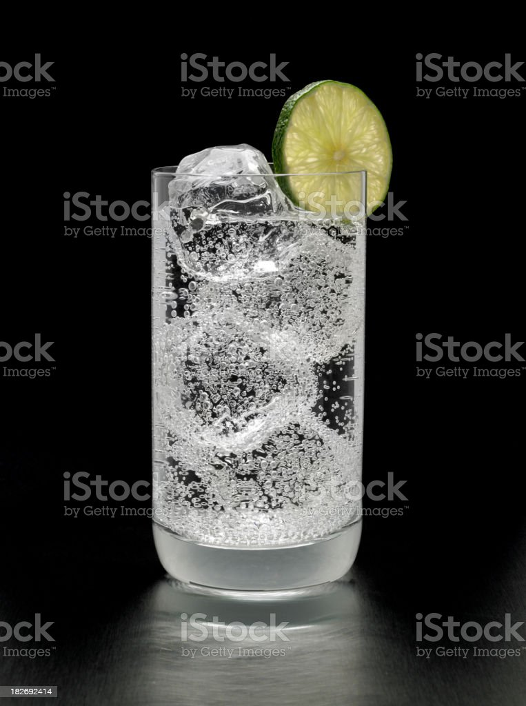 Gin and Tonic Cocktail on black background stock photo