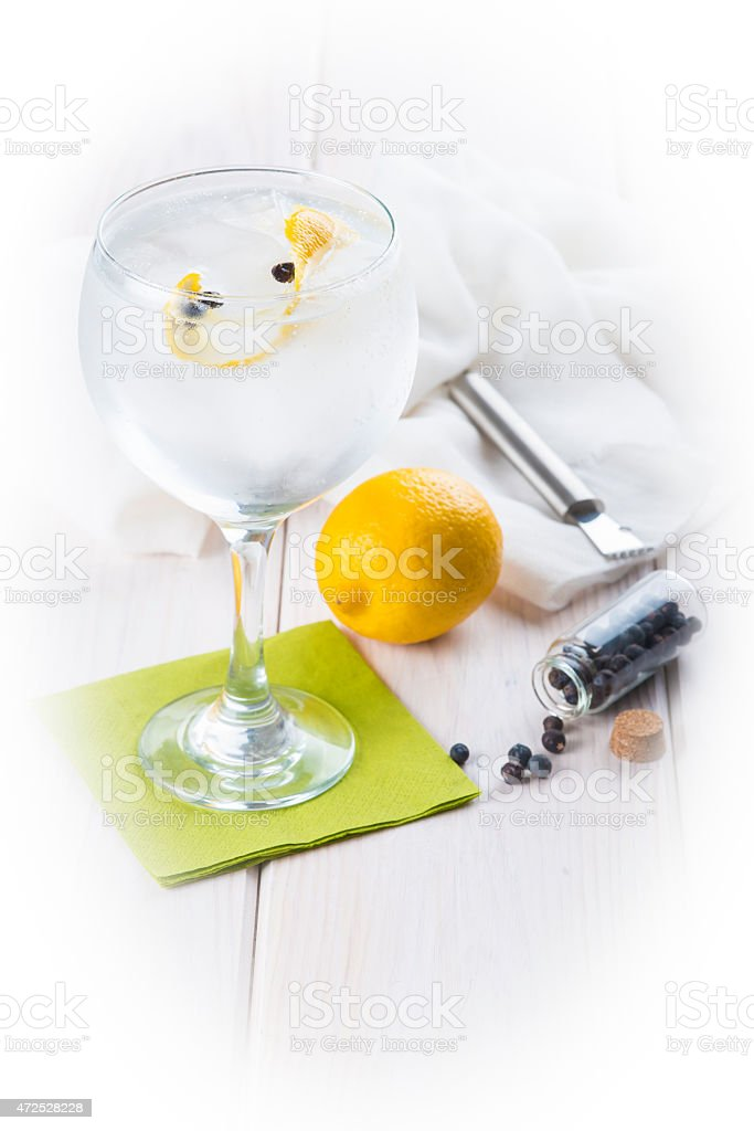 Gin and tonic on a highball glass stock photo