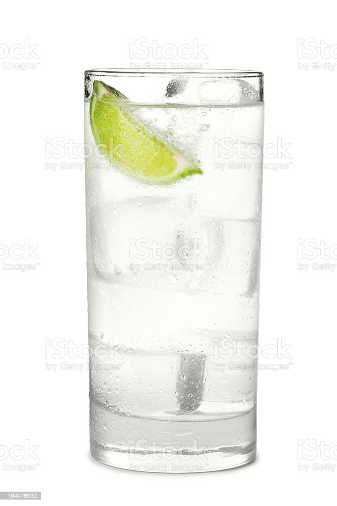Gin and Tonic or Soda on White stock photo