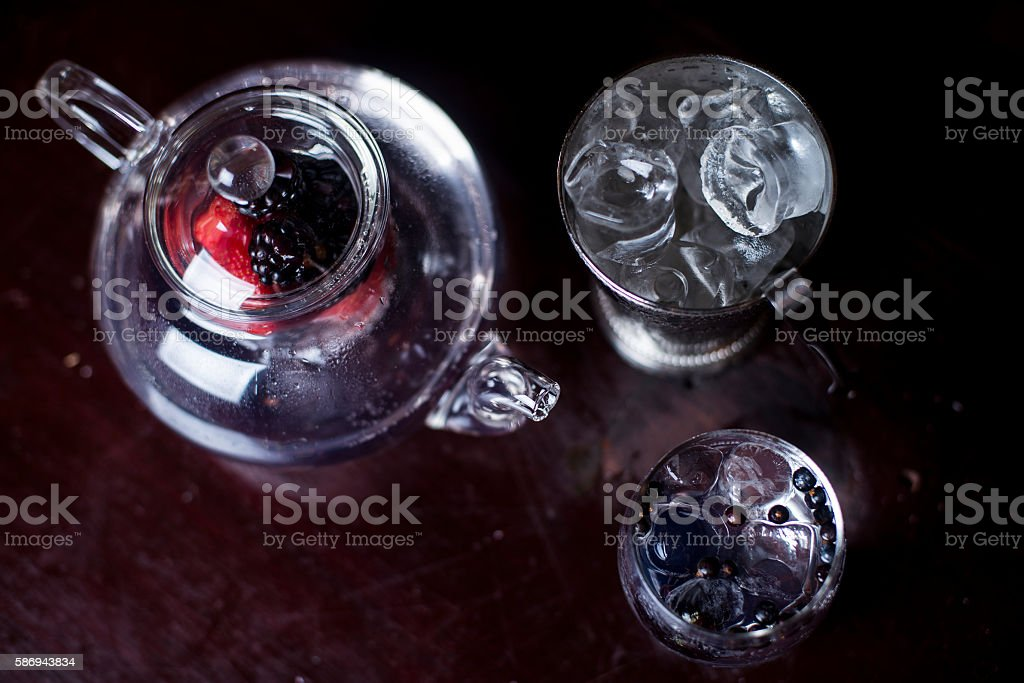 Gin and Tonic Teapot with Fruit Infuser stock photo