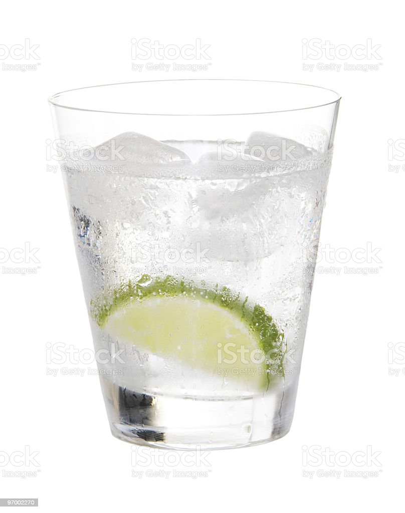 Gin And Tonic With Lime Isolated royalty-free stock photo