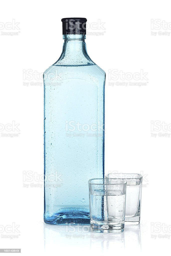 Gin bottle and two shots royalty-free stock photo