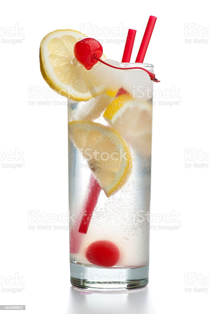 Gin Fizz with two red straws isolated on white background stock photo