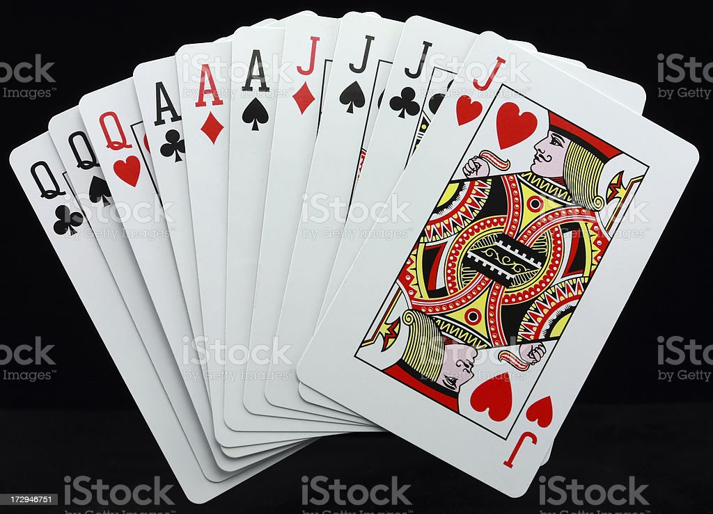 Gin Rummy a winning hand of cards royalty-free stock photo