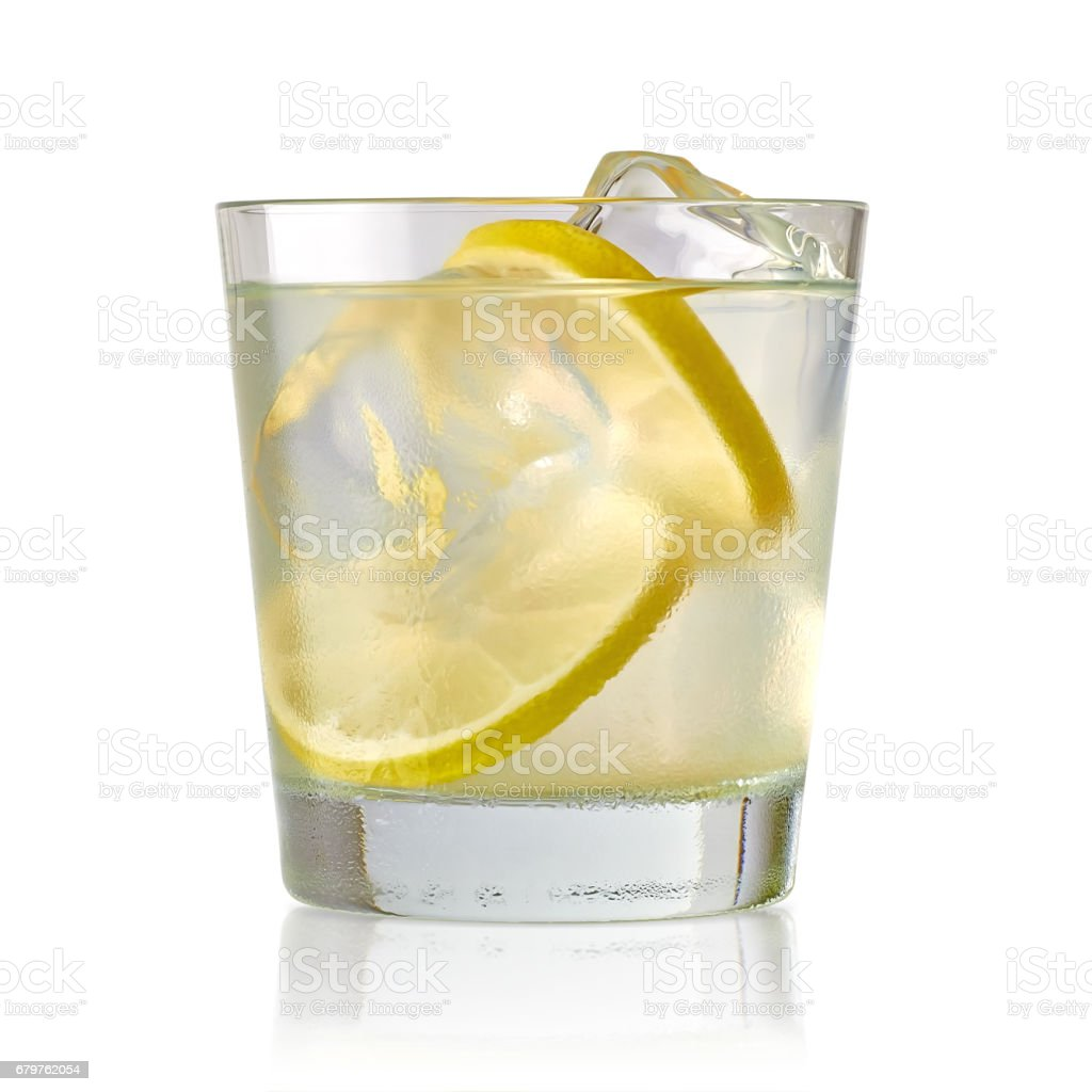Gin tonic or vodka isolated on white background stock photo