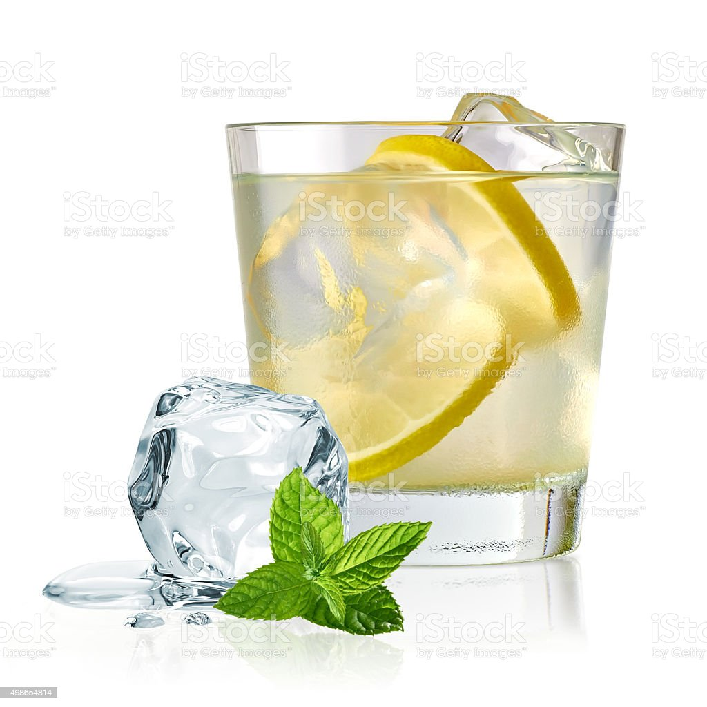 Gin tonic with lemon and ice stock photo