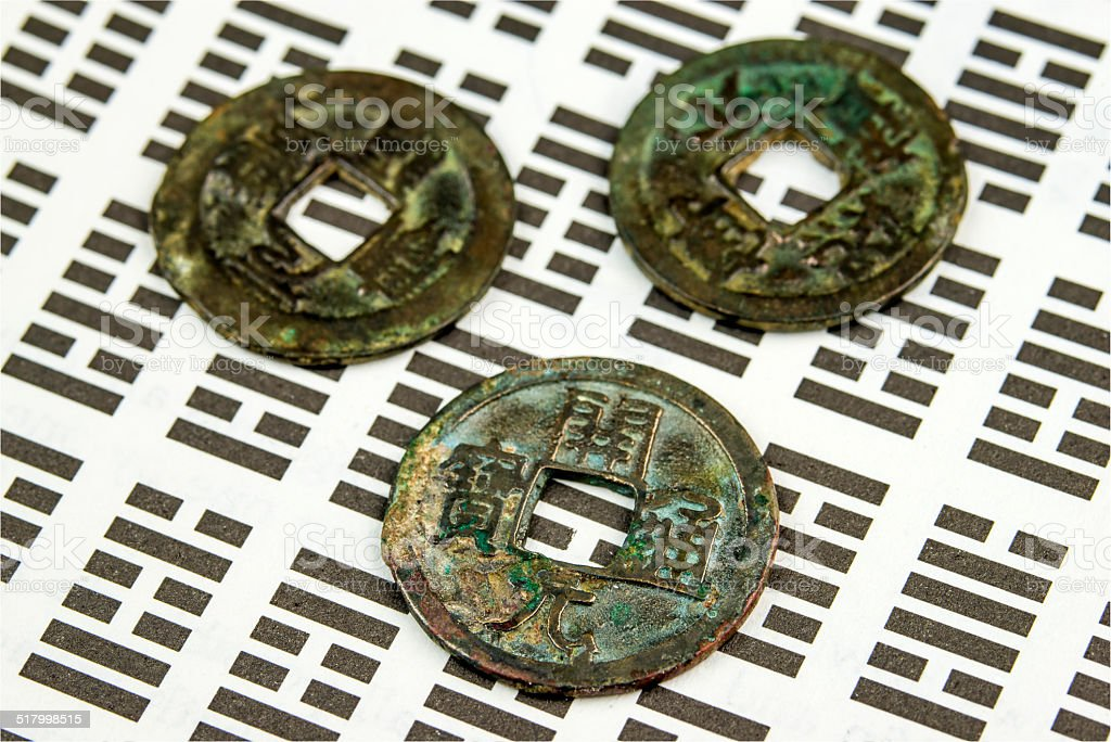 I Ging, Chinese divination with coins stock photo