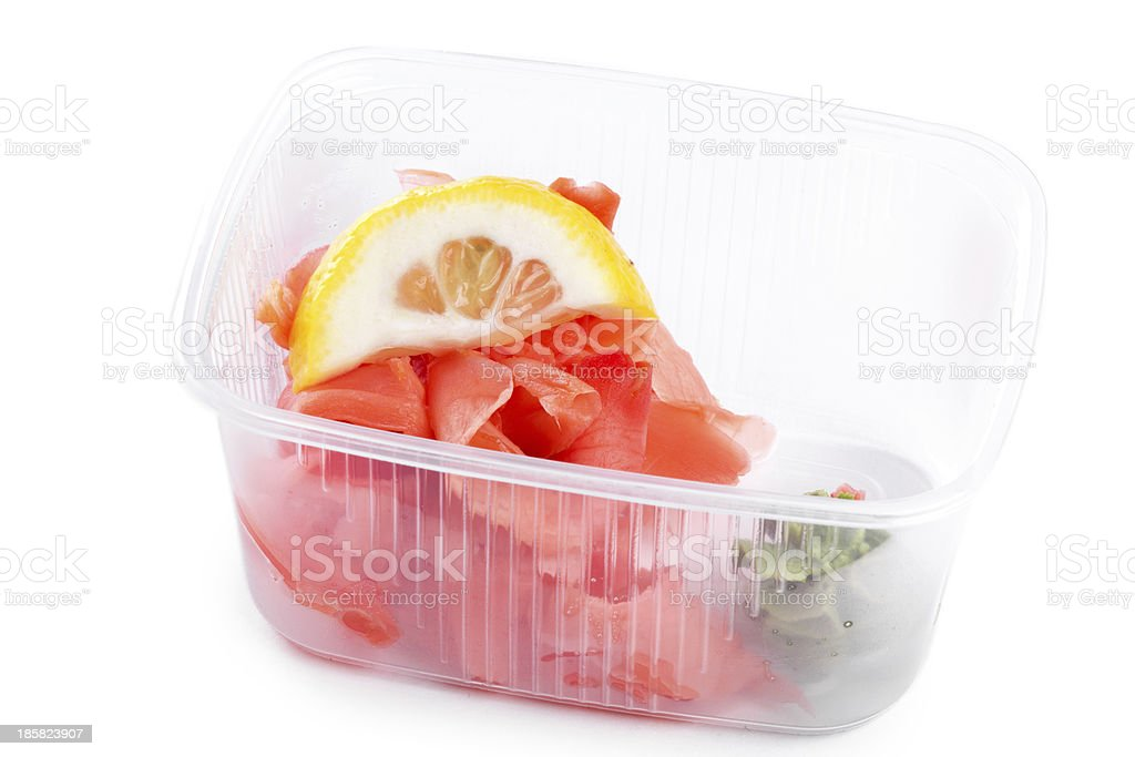 Ginger and wasabi with lemon in  box royalty-free stock photo