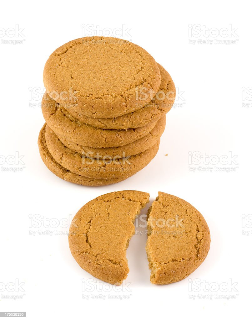 Ginger biscuit stack stock photo