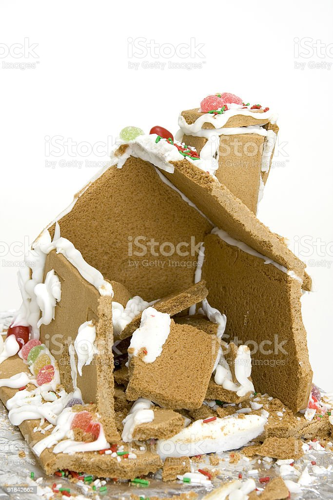 ginger bread house remains royalty-free stock photo