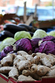 Ginger, Cabbage and Eggplant For Sale at Farmer's Market