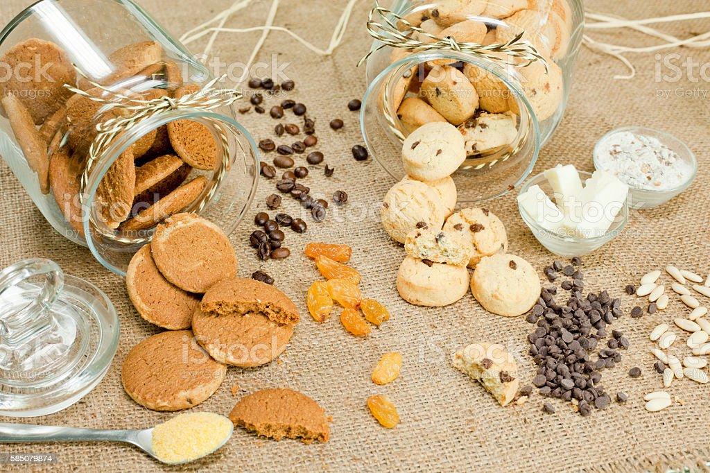 ginger, chocolate, cookies, hessian, stock photo