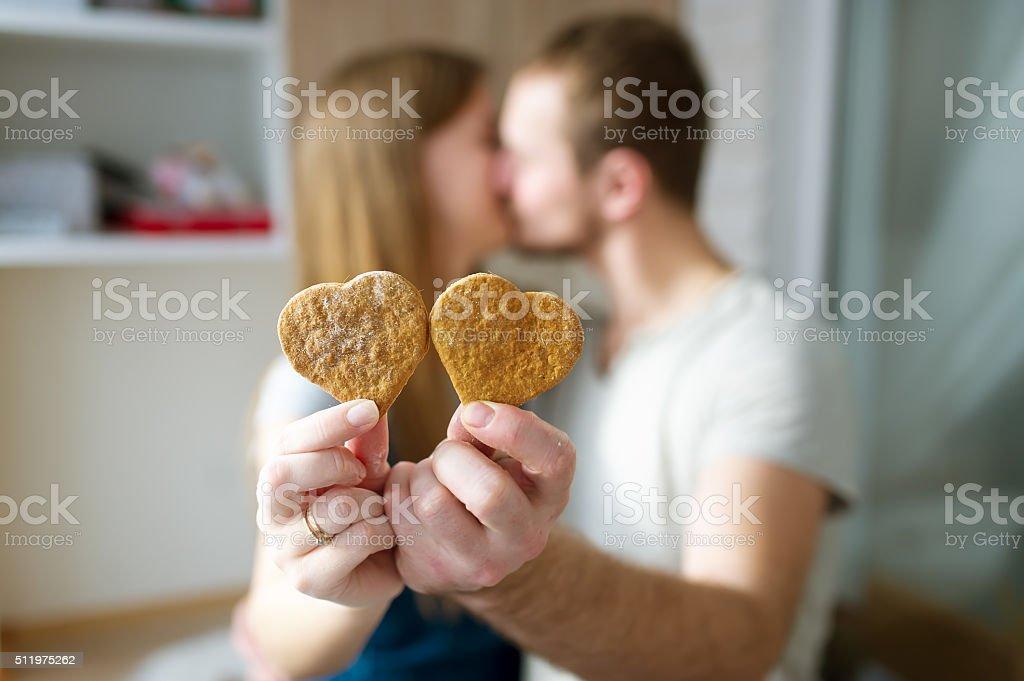 Ginger cookies - love symbol stock photo