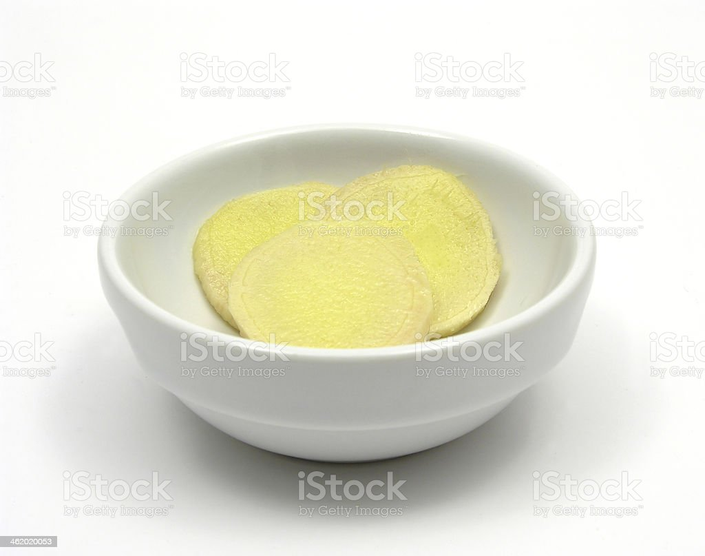 Ginger in a bowl of chinaware on white royalty-free stock photo